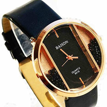 Black Circle w/ Rectangle and Rhinestone Womens Watch w/ Black Leather Band