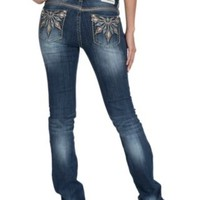 Grace in LA Women's Medium Wash Aztec Sun Embroidered Open Pocket with Turquoise Beads Easy Fit Boot Cut Jeans