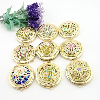 Mini Gold Retro Handheld Mirrors Hollow Folding Cosmetic Compact Mirror