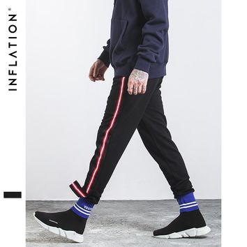 INFLATION 2017 Autumn Men Sweatpants Mens Knit Pants With High blue White Ribbing College Style Split Ribbon Mens Pants 332W17