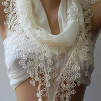 ON SALE Pearl Color - Cotton  Scarf - Elegant Scarf  .