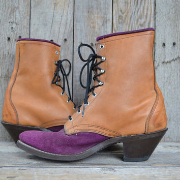 Vintage 90's seapunk Hipster Two Tone Purple Suede Western Roper Granny Boots, 7.5