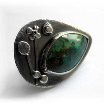 Green Turquoise Sterling Silver Ring - Timeless Beauty - ON SALE