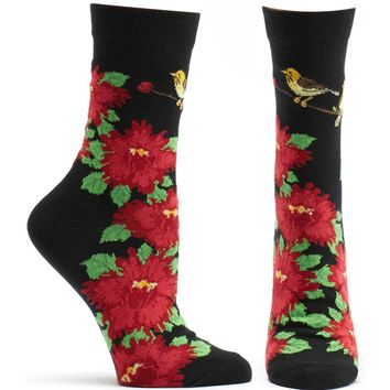 Birds and Blossoms Floral Sock