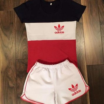 Adidas Women Fashion Print Cotton Sport Shirt Shorts Set Two-Piece Sportswear