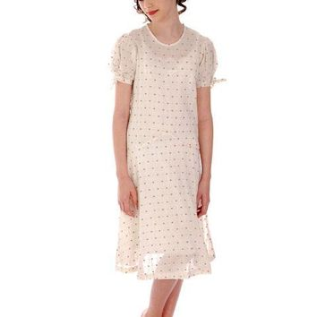 Young Lady's Cotton Printed Day Dress Dropped Waist 1920s 32-30-32