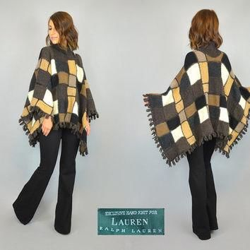 RALPH LAUREN vtg 90s hand knit cowl neck PATCHWORK blanket poncho, extra small-small