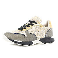 River Island Womens Gold chunky tweed sneakers