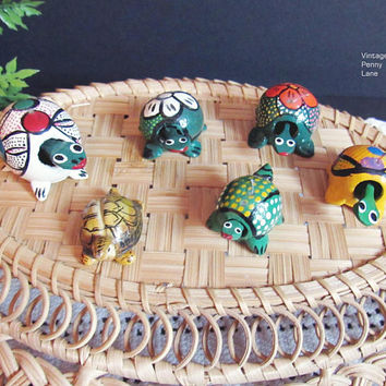 Mexican Tole Painted Wood Turtles / Bobble Heads / Alebrijes, Folk Art