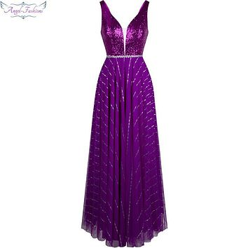Angel-fashions V neck Sequin Ruched Swing Gown Long Prom Dresses Purple vestido de noche 314