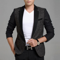 New Trend One Button Slim Fit Blazers Men Top Quality Suits Jackets Winter Patchwork Men Blazers Men's Clothing