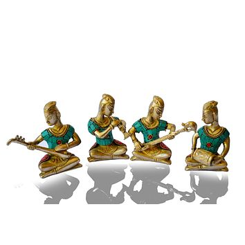 Metal-Sculpture-Tribal-Music-Band-Brass-Art Set of 4