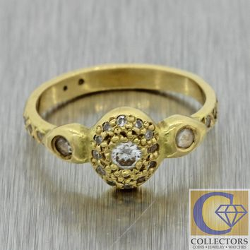 Vintage Estate Art Deco Style 18k Yellow Gold Diamond Engagement Eternity Ring
