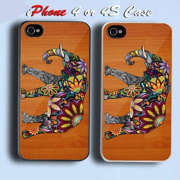 Floral Elephant on Wood Custom iPhone 4 or 4S Case Cover