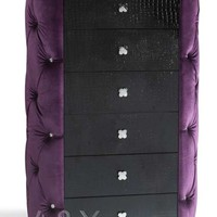 Purple Fabric 6 Drawers Chest