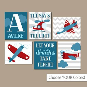 AIRPLANES Wall Art, CANVAS or Prints, Baby Boy Nursery AIRPLANES Decor, Helicopter Sky, Take Flight Quote, Personalized Boy Name Set of 6