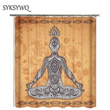 Vintage Yoga Shower Curtain Mandala Drop Shipping cortina de ducha Indian Meditation Bathroom Curtain 3d