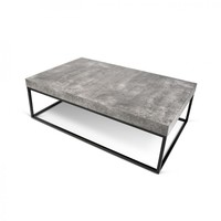 Petra Faux Concrete Coffee Table Top / Black Legs