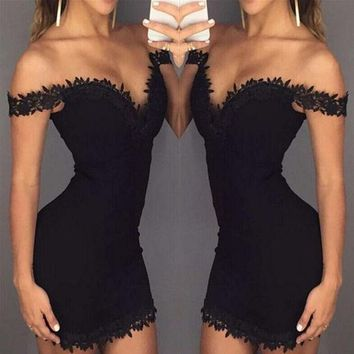 CUPCUPST Summer Fashion Deep V Strapless Lace Stitching Mini Dress