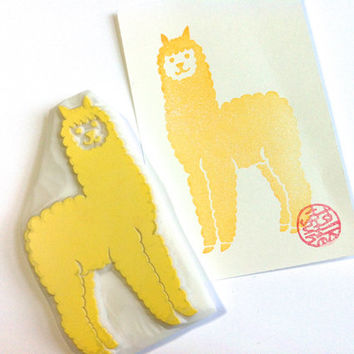 alpaca rubber stamp. hand carved rubber stamp. hand carved stamp. baby alpaca stamp. farm animal stamp. for stamping diy projects. large.