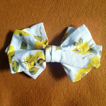 Hand sewn extra large yellow and white floral flower hair bow barette clip