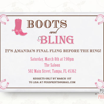 Boots and Bling Bachelorette Invitation - Final Fling Before the Ring Bachelorette Party Invitation (Printable)