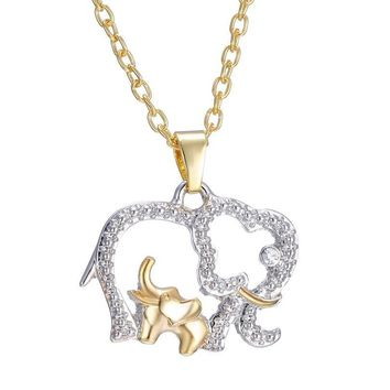 Mother and Baby Elephant Gold Silver Crystal Pendant Necklace