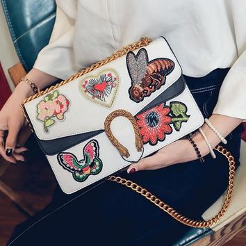 Stylish Women Personality Contrast Color Embroidery Vintage Small Square Bag Metal Chain Satchel Shoulder Bag Crossbody White