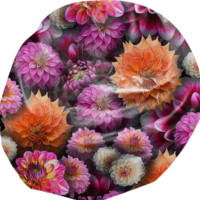 Pink Dahlias Collage Bean Bag Chair created by Blooming Vine Design | Print All Over Me