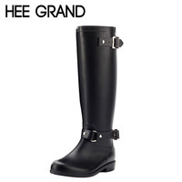 Rain Boots Women 2017 Rubber Knee High Boots Spring Autumn Buckle Black Brown Riding Boots Shoes Women Size 36-40 XWX3870