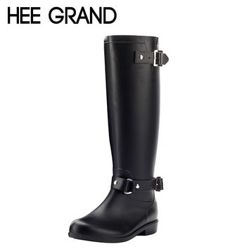 Rain Boots Women 2016 Rubber Knee High Boots Spring Autumn Buckle Black Brown Riding Boots Shoes Women Size 36-40 XWX3870