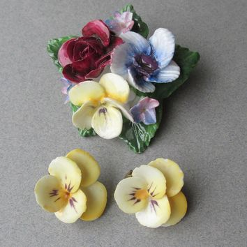 Denton China England Porcelain Flower Bouquet Pin & Pansy Earring Set - MINT In Box!