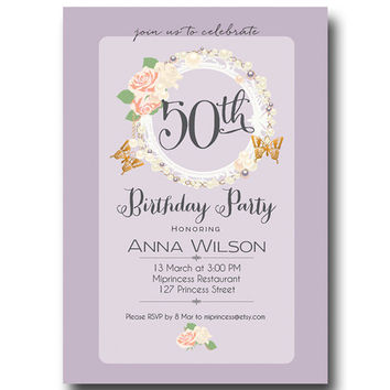 Shabby Chic Birthday Invitation for any age,  18 20 30 40 50 60 70 80 birthday invitation ROSE Card Design party invite - card 125