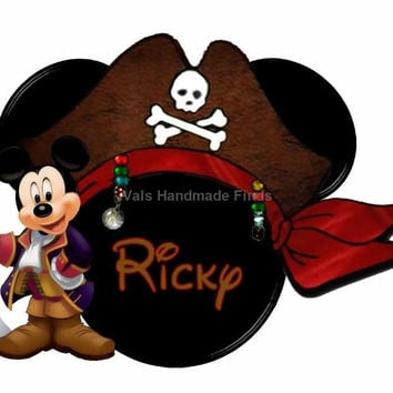 Mickey and Pirates Hat Mickey Mouse Head Disney World Personalized w/ Name/Date Printable Iron On Transfer DIY Instant Download