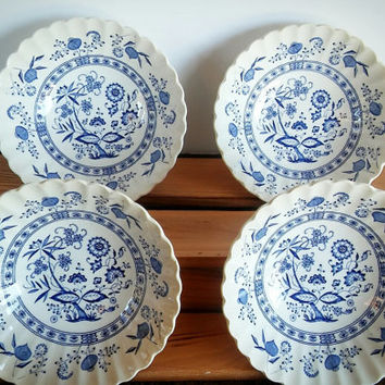 "English Blue Nordic onion Plate set of 4 ""7"" Staffordshire Classic White J.& G. Meakin replacement Wall Hanging England"