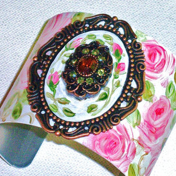 Boho Shabby Chic Rose Bracelet Hand Painted Romantic Pink Roses Wide Cuff Bracelet