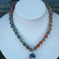 Rainbow Hemp Necklace with Fimo Glass Mushroom handmade macrame jewelry  womens  girls hippie  unisex
