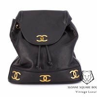 CHANEL VINTAGE BLACK CAVIAR LEATHER CC DRAWSTRING BACKPACK BAG ** HARRODS **