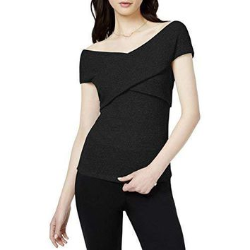 Bar III Womens Off-The-Shoulder Ribbed Pullover Top