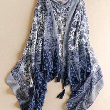 Blue Tassels Ethnic Printed Multifunctional Pashmina