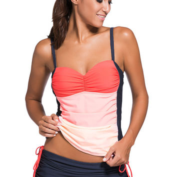 Orange Ombre Color Block Bandeau Tankini Navy Skort Set