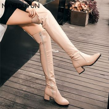 NAYIDUYUN 2017 Fashion Women Bright Cow Leather Round Toe Thigh High Boots Stretchy Winter Over Knee Long Boots Oxfords Slim