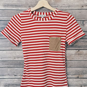 Chaya Suede Pocket Tee (Red)