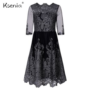 Ksenia Sliver Embroidery Lace Ball Gown Women Dress Vintage Style Sexy Sheer Mesh Dresses 2018 Spring New Night Out Party Dress
