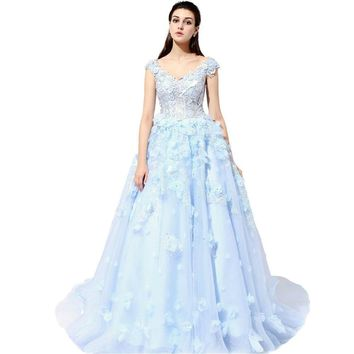 Lace Flower Bride Wedding Dress High-grade Romantic Crystal Beading Banquet Ball Gown Party Formal Dresses