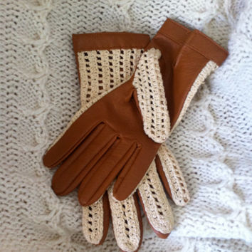 Vintage Ladies Brown and Cream Faux Leather and Crochet Gloves Size B Kayser