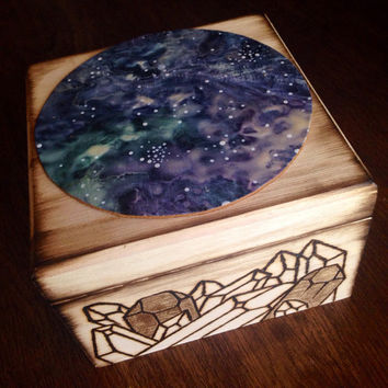 Galaxy Crystal Box Galaxy Box Wood Box Crystal Design Alter Box Crystal Healing Crystals and Stones Bohemian Decor Galaxy Decor Gift for Her