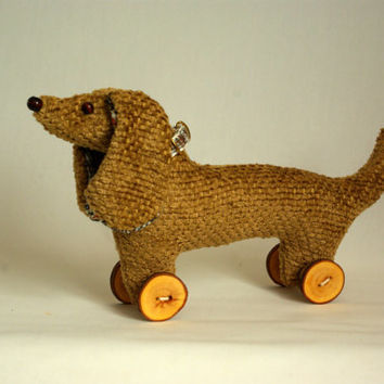vintage style keepsake dachshund / wiener / sausage dog / doxie on wooden button wheels, UK seller, ready to ship