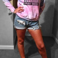 EXPLICIT CONTENT Parent Advisory Warning GALAXY Sweatshirt Sweater Cropped - Off the Shoulder - or Regular XSmall Small Medium