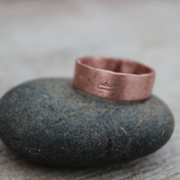 Zodiac Copper Ring, Wide Band, Men Copper Ring, Women Copper Ring, Nature Inspired, Hand forged Reclaimed Copper, Groomsmen Best Man Gift
